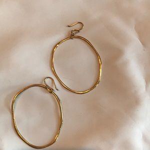 Gold-tone hammered hoop earrings